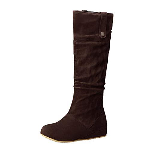 COZOCO Damen Vintage Hohe Stiefel Volltonfarbe Flache Stiefel Wildleder Wasserdicht Langschaft Stiefel(Braun,43 EU -