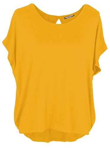 Emma & Giovanni - Basic Sommer T-Shirt/Oberteile Kurzarm - Damen (Senf, S/M)
