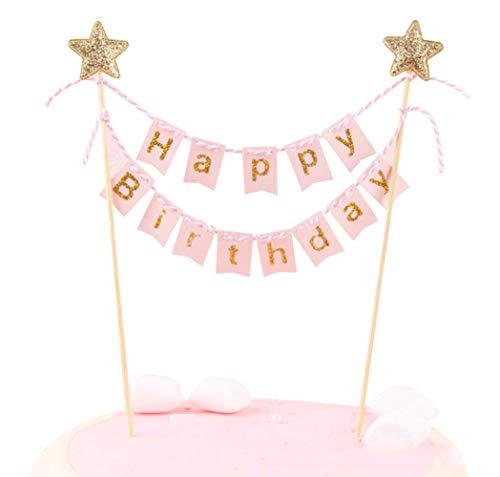 Happy Birthday Cake Topper Banner–Handarbeit Elfenbeinfarben Pennant Flagge Banner Tortenaufsatz mit Holz Umfragen–Perfekt für Kuchen, Donut Kuchen, Cupcakes und mehr. rose