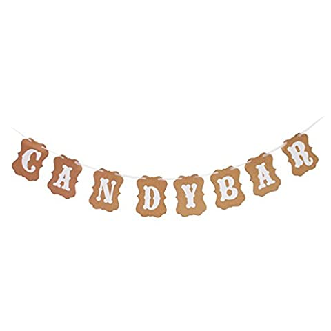 Etbotu Kraft Papier Karton Girlande Party Banner für Hochzeit Baby Dusche Geburtstag Dekoration Candy Bar Bunting Banner Hochzeit Geburtstag Party Deko