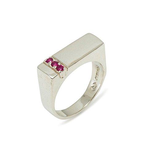 Luxus Herren Ring Solide Sterling Silber 925 mit Rubin - Verfügbare Größen : 47 bis 68