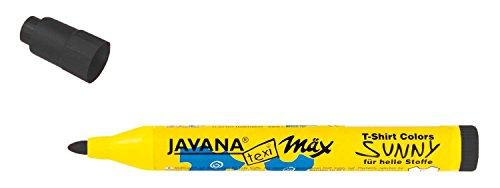 Kreul 90771 - Javana Texi Mäx Sunny medium, Stoffmalstift für helle Stoffe, mit unempfindlicher Rundspitze ca. 2 - 4 mm, schwarz
