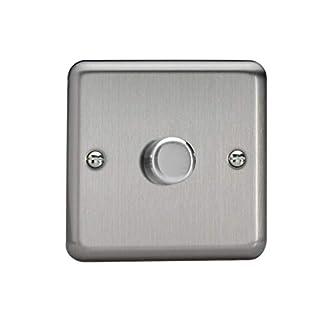 Varilight 1-Gang 2-Way Push-On/Off Rotary LED Dimmer Light Switch in Matt Chrome