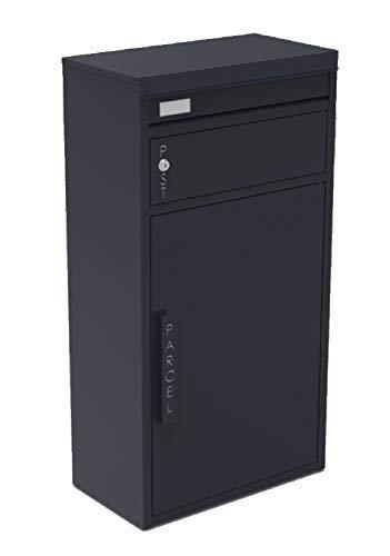 Safepost 65 TIAMAT Paketbriefkasten - mit Paketfach - Standbriefkasten - Exklusivmodell (anthrazit mit 4 Schlüssel)
