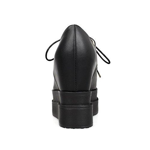 Dedo Do Pé Ao Material Alto Preto Senhoras Redor Salto Bombas Do Macio Puramente Sapatos Allhqfashion Rendas De wqSYWRp