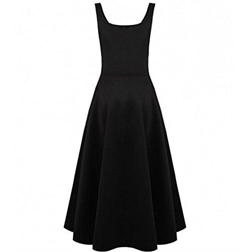 WintCO Damen Elegant Kleid mit Taschen Petticoat Abendkleid in weiß und schwarz Schwarz