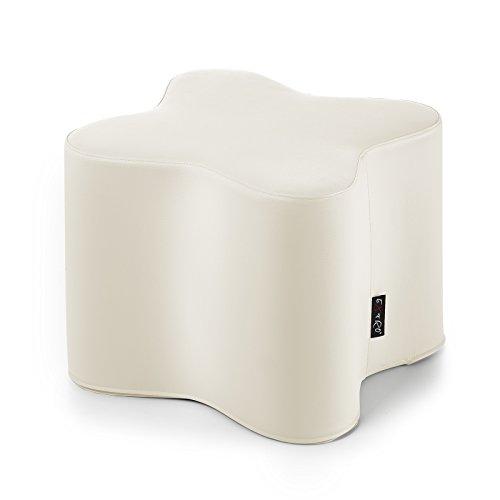 CAB Pouf en forme de fleur, table basse, siège en similicuir beige, (H) 42 x (L) 48 cm, ameublement moderne de maison, déhoussable et anti-déchirure
