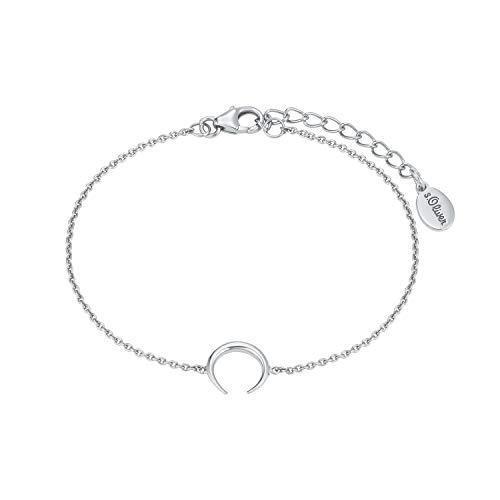 s.Oliver so Pure Damen-Armkette aus glänzendem 925er Sterling-Silber mit Mond-Anhänger, Büffelhorn, längenverstellbar (16+3 cm)