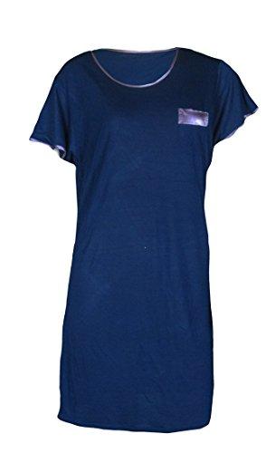 Da donna Camicia blu navy a maniche corte pigiama 8-20nuovo (A164) blu navy 50