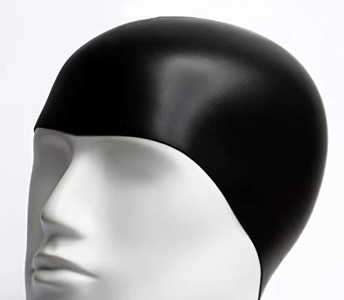 Gorro de Baño de Silicona/Gorros de Natacion Impermeables para Adulto Hombre o Mujer Unisex/Elastico y Resistente/Talla Unica Negro para Piscina o SPA