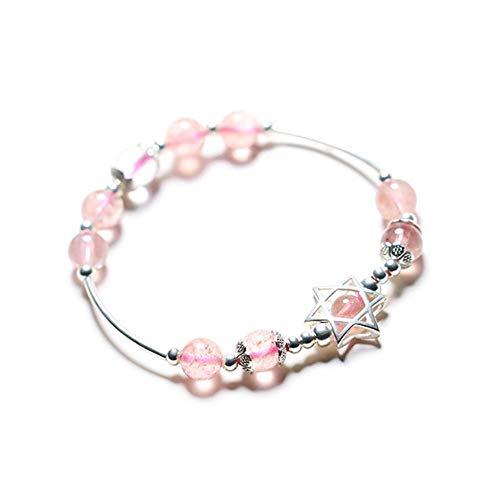 JunBo Natürliche Erdbeere Kristall Armband sechs Sterne Pfirsichblüte Ehe Armband (Sechs-sterne-erdbeere)
