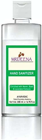 Mrideena Hand Sanitizer, Enriched with Neem & Basil Extracts - 70% Isopropyl Alcohol, Long Lasting Protect