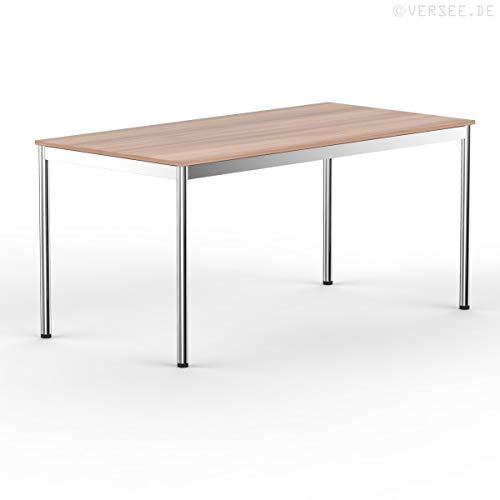 VERSEE system8x Design Schreibtisch - Holz - Kirschbaum - 180 x 80 cm - Konferenztisch Metall-Gestell in Stahl/Chrom hochwertige Verarbeitung Dekor...