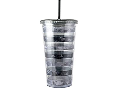 Mikasa Hydration Double Walled Stripe Cup and Straw, Acrylic, Grey