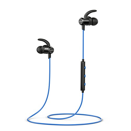 Anker SoundBuds Slim Bluetooth Kopfhörer Kabellos und Magnetverschluss, Wasserfest Sport Headset mit Mikrofon für iPhone, iPad, Samsung, Nexus, HTC und mehr(Blau)