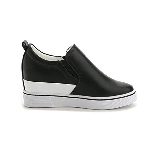 Damen Pumps Freizeit Keilabsatz Wedges Schuhe mit Plateau Schwarz