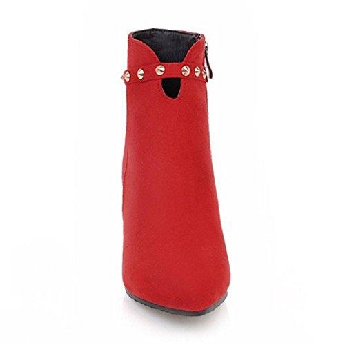 RAZAMAZA Femmes Automne Bottes Fermeture Eclair Red-98