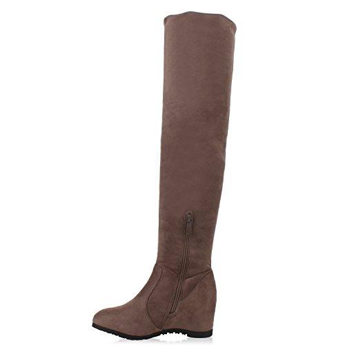 Damen Stiefel Keilabsatz Overknees Wedges Boots Schuhe Taupe