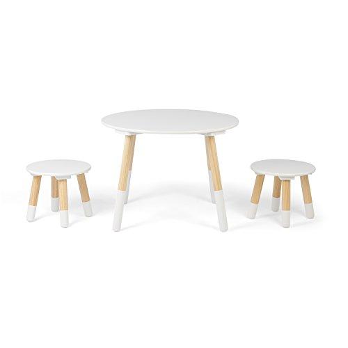 Kledio Kinder Holztisch mit Stühlen in weiß, runder Kindertisch aus Holz inkl. 2 Hocker, Kindermöbel sind bestens geeignet für das Kinderzimmer