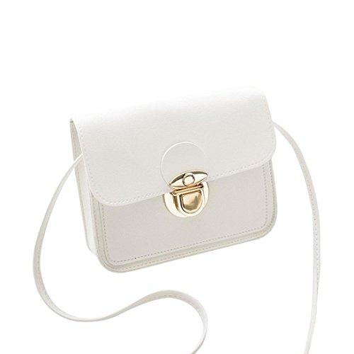 Manadlian Damen Tasche, Frauen Leder Handtasche Crossbody Einfarbig Umhängetasche Schultertasche Münztüte Handytasche (Weiß)