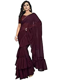 Jaanvi Fashion Women's Ruffle Georgette Saree (frill-saree-ruffle)