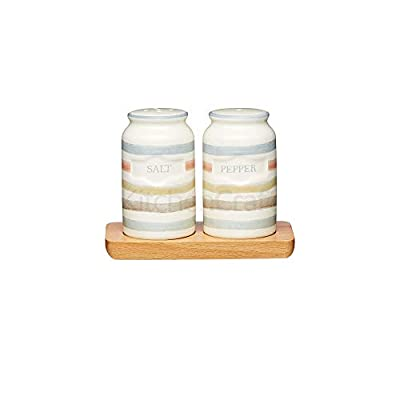 KitchenCraft Classic Collection Vintage-Style Ceramic Salt and Pepper Shakers with Wooden Tray (3-Piece Set) by KitchenCraft