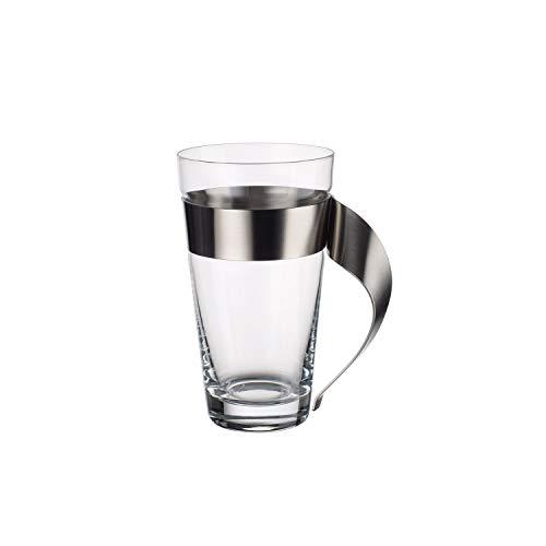 Villeroy & Boch NewWave Latte Macchiato-Glas, Kristallglas mit Edelstahl-Henkel, spülmaschinengeeignet, trendiges Design, klar, 15 cm, 500 ml