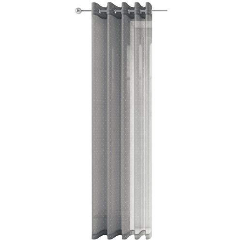 Cortina de gasa con estampado gris y lunares plateados, con ojales de borde metálico, modelo Chicago, poliéster, Gris, 145 x 137 cm