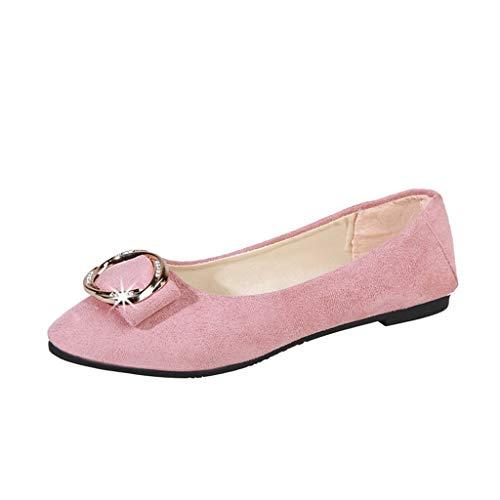 Temperament Wilde Einzelne Schuhe Spitz Flacher Mund Runde Schnalle Flache Arbeitsschuhe Freizeitschuhe(Pink,42) ()