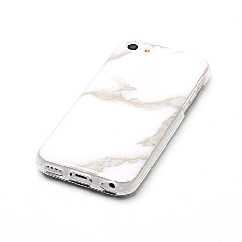 iPhone 5C Hülle Marmor, iPhone 5C Marble Case,iPhone 5C Weich Silikon Handyhülle,Lifetrut Marmor Design Soft Rückseite Stoßstange TPU Gummi Silikon Skin Tasche für iPhone 5C [Rauch] E208-Jade Weiß