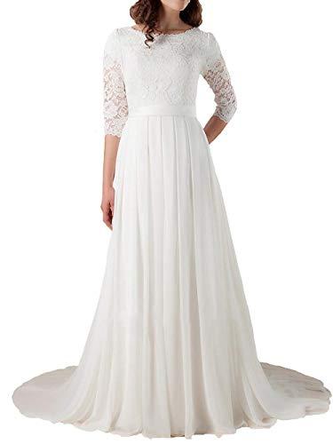 ae05f35876b9a6 Brautkleid Hochzeitskleider Lang Damen Brautmode mit ärmel Chiffon Spitze A  Linie Elfenbein EUR52
