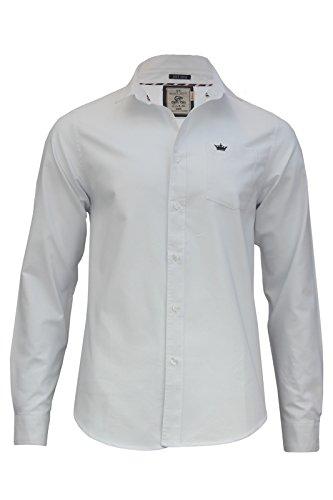 Herren lange Ärmel Baumwolle Bohrer Casual Shirt Top (Pompeji) von Brave Soul Weiß - Weiß (Optic White)