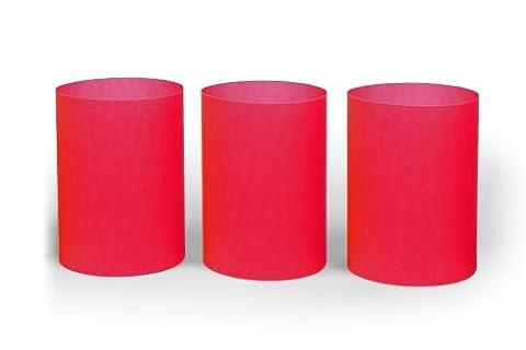 Windlicht rot im 3er Set aus Transparentpapier