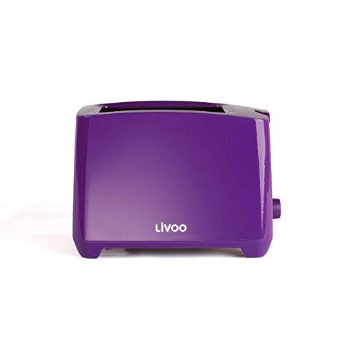 Grille-pain violet avec tiroir ramasse-miettes thermostat réglable (arrêt manuel, 750 W, 2 fentes de toast)