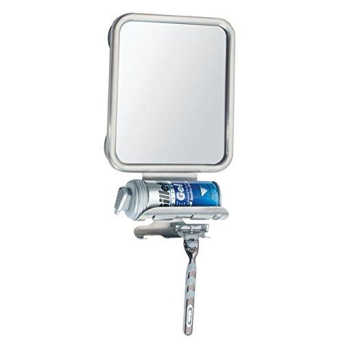 mDesign Rasierspiegel - mit Halterung für Rasierer und Ablage für Rasierschaum - auch als Kosmetikspiegel oder Schminkspiegel im Bad nutzbar - Farbe: Silber