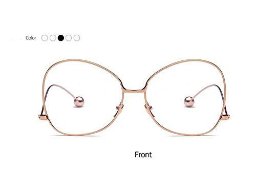 zywddp Big Box Lady Anti-Radiation Anti-Fatigue Flat Mirror, Student Literary Glasses, Gold Frame