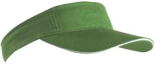 sports-sun-visor-sandwich-peak-golf-tennis-cap-hat-12-colours-mb6123-green-white