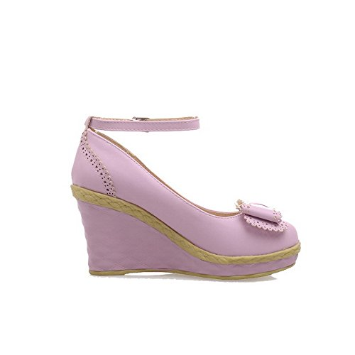VogueZone009 Femme Boucle à Talon Haut Pu Cuir Couleur Unie Rond Chaussures Légeres Violet