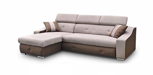 Ecksofa Sofa Eckcouch Couch mit Schlaffunktion und Bettkasten Ottomane L-Form Schlafsofa Bettsofa Polstergarnitur - APOLLO (Ecksofa Links, Cappuccino)