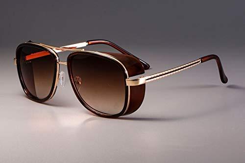 NSYJDSP Eisen Mann 3 Matsuda Tony Sonnenbrille Männer Gespiegelt Brillen Mode Brillen UV Schutz brauner Tee