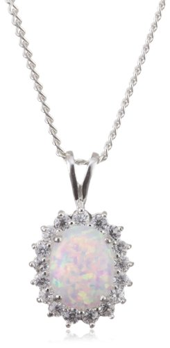 MiChic Premium Synthetic Opal and Cubic Zirconia Cluster Silver Pendant with 46 cm Curb Chain