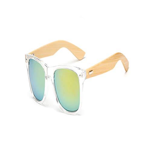 Golfbrille,17 Color Wood Sunglasses Men Women Square Bamboo Women For Women Men Mirror Sun Glasses Retro De Sol Masculino Handmade KP1501 C14 ()