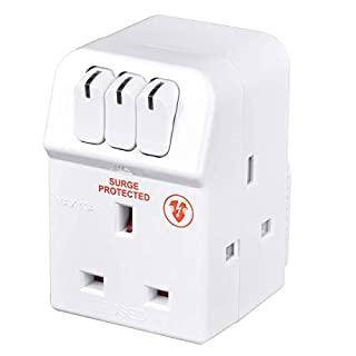 Masterplug Three Socket Surge Protected Adaptor with Individual Switches, 13 Amp, White