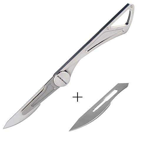 TITANER Hummingbird/DragonflyWings Titanium Surgical Blade Mini Key-chain Folding Knife for EDC Outdoor Rescue Only 4.6g/10g (DragonflyWings) -
