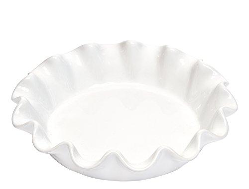 Emile Henry EH116187 Pie Dish mit Wellenrand, Nougat Pie Dish
