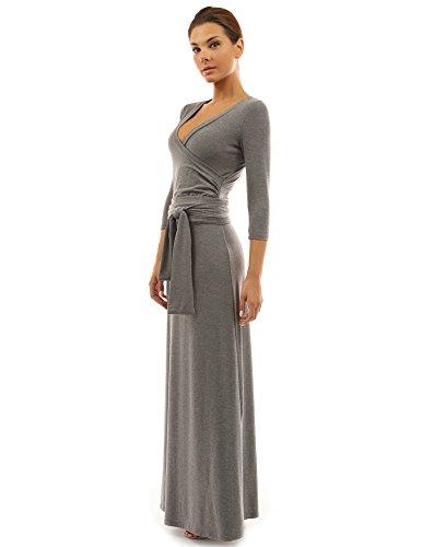 PattyBoutik femmes La maxi stretch robe d'un col V avec 3/4 manches et d'une ceinture à fermeture gris moyen