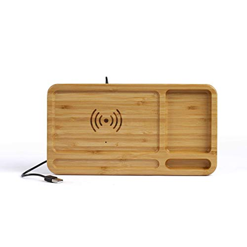Organizador de oficina con cargador de inducción, estación de carga inductiva inalámbrica (cable USB, cargador inalámbrico, organizador de escritorio, madera, soporte para móvil)