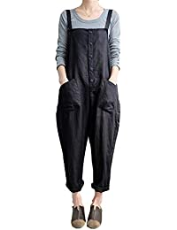 4336f234ef3 Helisopus Women s Plus Size Linen Overalls Baggy Adjustable Strap  Sleeveless Jumpsuits Casual Loose Wide Leg Dungarees