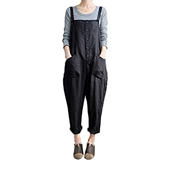 Helisopus Womens Cotton Loose Casual Baggy Rompers Jumpsuits Overalls Harem Wide Leg Dungarees Playsuit Trousers