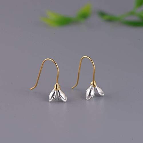 S925 Silber Silber Damenmode Temperament Versilbert Magnolie Ohrhaken Einfache Einfache Ohrringe, WOZUIMEI, ein Paar, 925er Silber